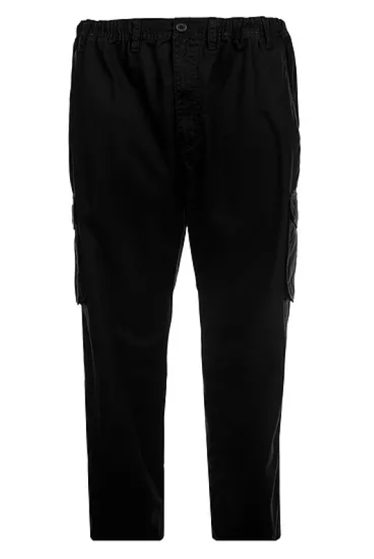 PLAIN DYED CARGO TROUSERS BLACK
