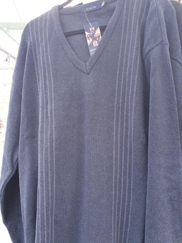 INVICTA V-Neck Pullover Jumper - Light Grey