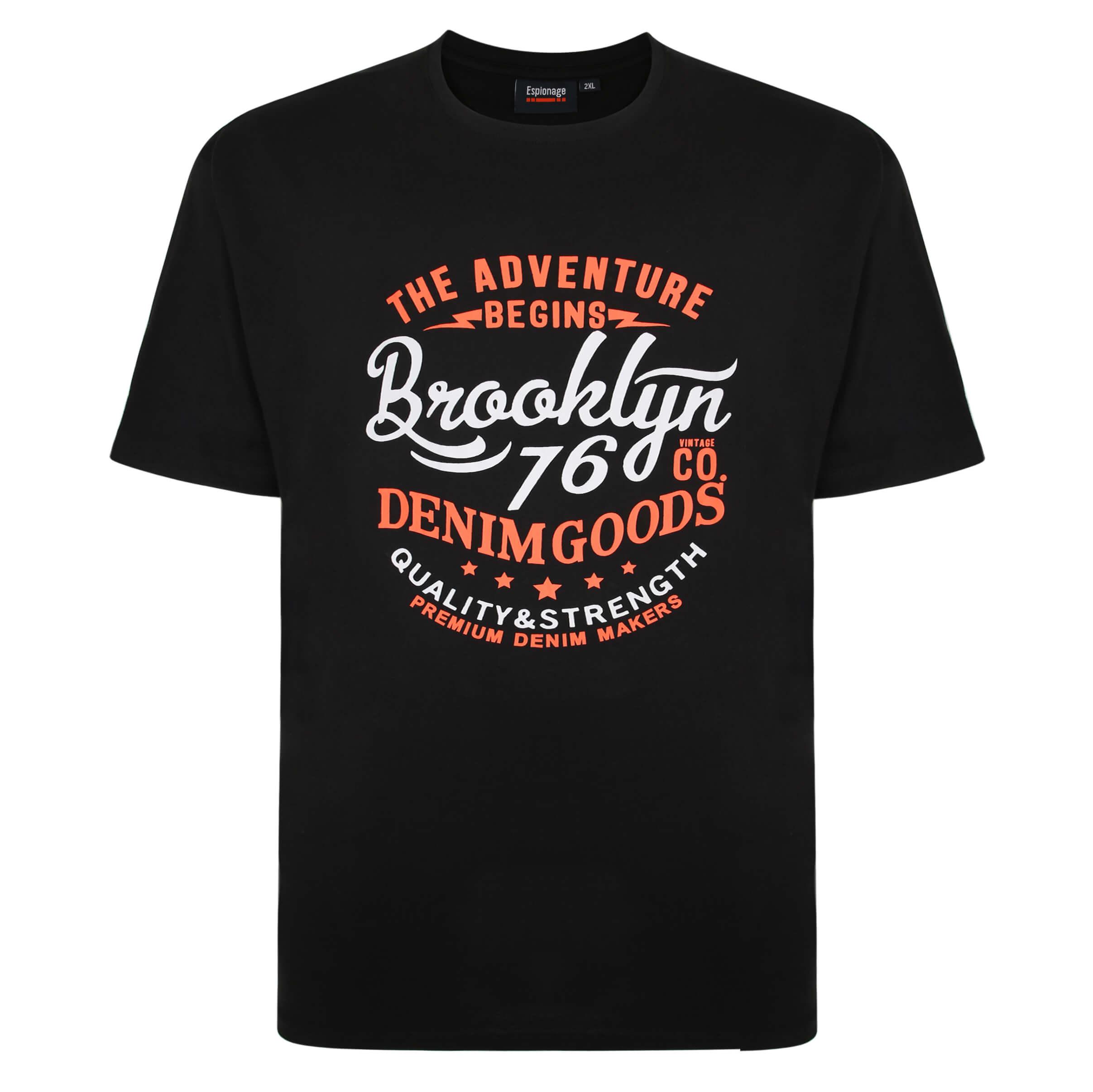Espionage Black Printed Tee Shirt